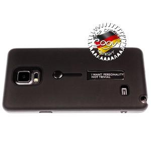 COOVY® Cover für Samsung Galaxy Note 4 SM-N910 / SM-N910F / SM-N9100 Bumper Case, Doppelschicht aus Plastik + TPU-Silikon mit Halteschlaufe, Standfunktion | Farbe schwarz