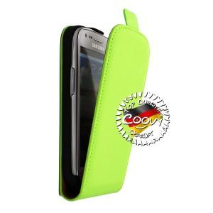 COOVY® Cover für Samsung Galaxy S3 MINI GT-i8200 GT-i8190 GT-i8195 Slim Flip Case Tasche Etui inklusive gratis Displayschutzfolie | Farbe grün