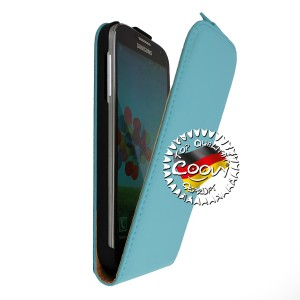 COOVY® Cover für Samsung Galaxy S4 GT-i9500 GT-i9505 GT-i9506 Slim Flip Case Tasche Etui inklusive gratis Displayschutzfolie | Farbe hellblau