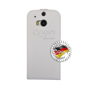 COOVY® Cover für HTC ONE M8 Slim Flip Case Tasche Etui inklusive gratis Displayschutzfolie | Farbe weiss