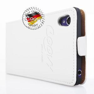 COOVY® Cover für Sony Xperia Z1 LT39h L39h Slim Flip Case Tasche Etui inklusive gratis Displayschutzfolie | Farbe weiss