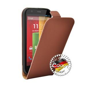 COOVY® Cover für Motorola Moto G XT1032 XT1033 (1. Generation Model 2013) Slim Flip Case Tasche Etui inklusive gratis Displayschutzfolie | Farbe braun