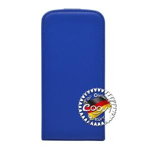 COOVY® Cover für Samsung Galaxy S5 MINI SM-G800 SM-G800H/DS DUOS Slim Flip Case Tasche Etui inklusive gratis Displayschutzfolie | Farbe dunkelblau