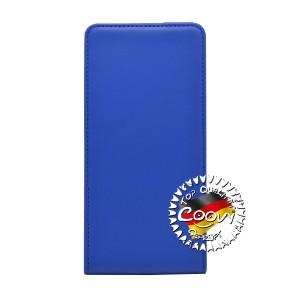 COOVY® Cover für Huawei P8 lite (Model 2016) Slim Flip Case Tasche Etui inklusive gratis Displayschutzfolie | Farbe dunkelblau