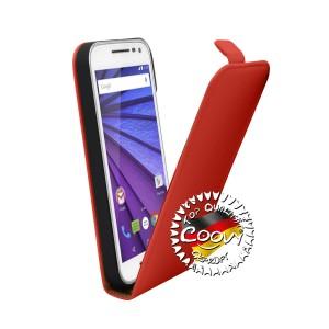 COOVY® Cover für Motorola Moto G (3. Generation Model 2015) Slim Flip Case Tasche Etui inklusive gratis Displayschutzfolie   Farbe rot