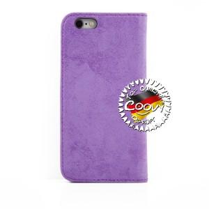 COOVY® Cover für Apple iPhone 6 / 6s Case Wallet Schutz Etui mit Kartenfach, Standfunktion + Schutzfolie - Design Smile | Farbe lila