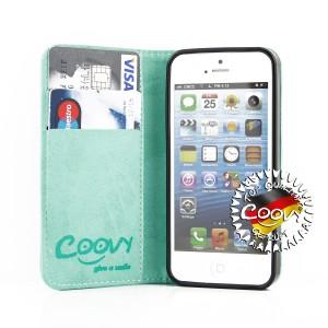 COOVY® Cover für Apple iPhone 5 / 5s / SE Case Wallet Schutz Etui mit Kartenfach, Standfunktion + Schutzfolie - Design Blume | Farbe grün