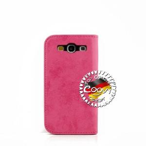 COOVY® Cover für Samsung Galaxy S3 GT-i9300 GT-i9305 Neo GT-i9301 Case Wallet Schutz Etui mit Kartenfach, Standfunktion + Schutzfolie - Design Smile | Farbe hotpink