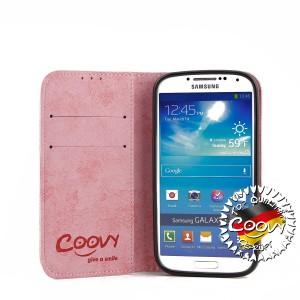 COOVY® Cover für Samsung Galaxy S4 GT-i9500 GT-i9505 GT-i9506 Case Wallet Schutz Etui mit Kartenfach, Standfunktion + Schutzfolie - Design Smile | Farbe lightpink