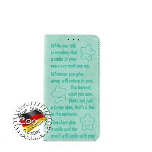 COOVY® Cover für Samsung Galaxy S6 EDGE SM-G925F SM-G925 Case Wallet Schutz Etui mit Kartenfach, Standfunktion + Schutzfolie - Design Smile | Farbe grün