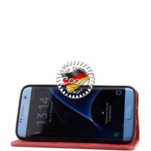 COOVY® Cover für Samsung Galaxy S7 EDGE SM-G935F SM-G935 Case Wallet Schutz Etui mit Kartenfach, Standfunktion + Schutzfolie - Design Smile   Farbe rot