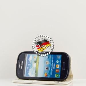 COOVY® Cover für Samsung Galaxy S3 MINI GT-i8200 GT-i8190 GT-i8195 Case Wallet Schutz Etui mit Kartenfach, Standfunktion + Schutzfolie - Design Smile | Farbe weiss