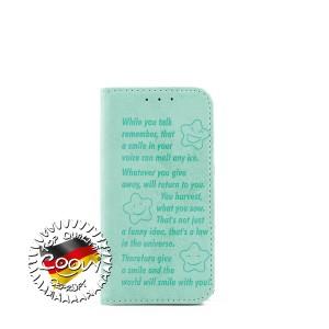 COOVY® Cover für Samsung Galaxy S5 MINI SM-G800 SM-G800H/DS DUOS Case Wallet Schutz Etui mit Kartenfach, Standfunktion + Schutzfolie - Design Smile   Farbe grün