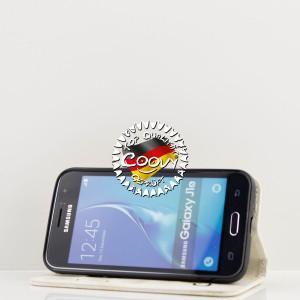 COOVY® Cover für Samsung Galaxy J1 SM-J120 / SM-J120F / SM-J120F/DS (Model 2016) Case Wallet Schutz Etui mit Kartenfach, Standfunktion + Schutzfolie - Design Smile | Farbe weiss