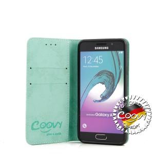 COOVY® Cover für Samsung Galaxy A3 SM-A310 / SM-A310F (Model 2016) Case Wallet Schutz Etui mit Kartenfach, Standfunktion + Schutzfolie - Design Smile | Farbe grün