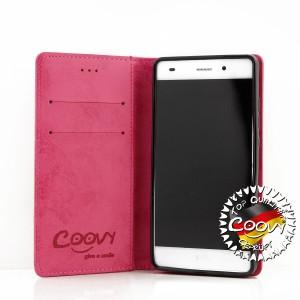 COOVY® Cover für Huawei P8 lite (Model 2016) Case Wallet Schutz Etui mit Kartenfach, Standfunktion + Schutzfolie - Design Smile | Farbe hotpink