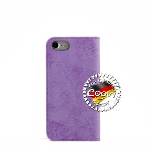 COOVY® Cover für Apple iPhone 7 / 8 Case Hülle Wallet Schutz Etui mit Kartenfach, Standfunktion + Schutzfolie - Design Smile | lila