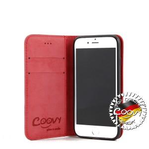 COOVY® Cover für Apple iPhone 7 / 8 Case Wallet Schutz Etui mit Kartenfach, Standfunktion + Schutzfolie - Design Smile   Farbe rot