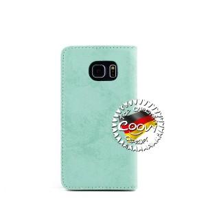 COOVY® Cover für Samsung Galaxy S6 EDGE SM-G925F SM-G925 Case Wallet Schutz Etui mit Kartenfach, Standfunktion + Schutzfolie - Design Blume   Farbe grün