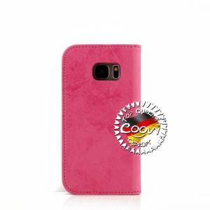 COOVY® Cover für Samsung Galaxy S7 SM-G930F SM-G930 Case Wallet Schutz Etui mit Kartenfach, Standfunktion + Schutzfolie - Design Blume | Farbe hotpink