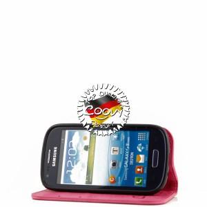 COOVY® Cover für Samsung Galaxy S3 MINI GT-i8200 GT-i8190 GT-i8195 Case Wallet Schutz Etui mit Kartenfach, Standfunktion + Schutzfolie - Design Blume   Farbe hotpink