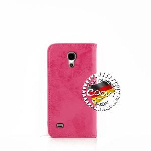 COOVY® Cover für Samsung Galaxy S4 MINI GT-i9190 GT-i9195 GT-i9192 Case Wallet Schutz Etui mit Kartenfach, Standfunktion + Schutzfolie - Design Blume   Farbe hotpink