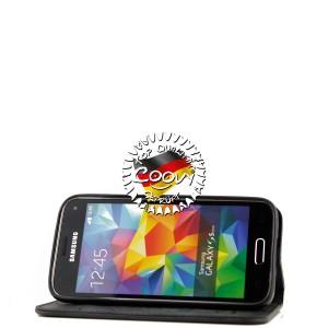 COOVY® Cover für Samsung Galaxy S5 MINI SM-G800 SM-G800H/DS DUOS Case Wallet Schutz Etui mit Kartenfach, Standfunktion + Schutzfolie - Design Blume | Farbe schwarz