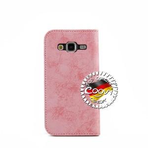 COOVY® Cover für Samsung Galaxy J3 SM-J310 SM-J320 (Model 2015 / 2016) Case Wallet Schutz Etui mit Kartenfach, Standfunktion + Schutzfolie - Design Blume | Farbe lightpink