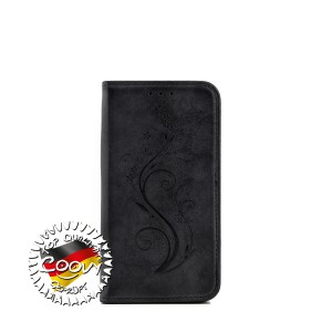COOVY® Cover für Samsung Galaxy J1 SM-J120 / SM-J120F / SM-J120F/DS (Model 2016) Case Wallet Schutz Etui mit Kartenfach, Standfunktion + Schutzfolie - Design Blume | Farbe schwarz