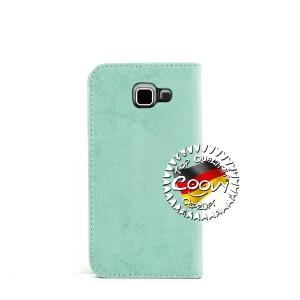 COOVY® Cover für Samsung Galaxy A5 SM-A510 / SM-A510F (Model 2016) Case Wallet Schutz Etui mit Kartenfach, Standfunktion + Schutzfolie - Design Blume | Farbe grün