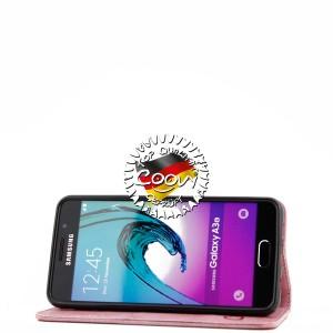 COOVY® Cover für Samsung Galaxy A3 SM-A310 / SM-A310F (Model 2016) Case Wallet Schutz Etui mit Kartenfach, Standfunktion + Schutzfolie - Design Blume   Farbe lightpink