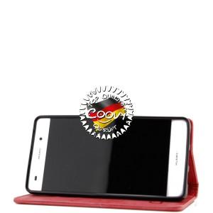 COOVY® Cover für Huawei P8 lite (Model 2016) Case Wallet Schutz Etui mit Kartenfach, Standfunktion + Schutzfolie - Design Blume | Farbe rot