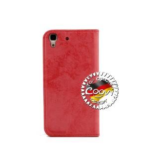 COOVY® Cover für Huawei Y6 (Model 2015) Case Wallet Schutz Etui mit Kartenfach, Standfunktion + Schutzfolie - Design Blume | Farbe rot