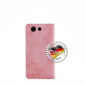 COOVY® Cover für Sony Xperia Z3 Compact D5803 D5833 Case Wallet Schutz Etui mit Kartenfach, Standfunktion + Schutzfolie - Design Blume | Farbe lightpink