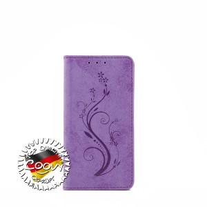COOVY® Cover für Sony Xperia Z5 Compact Case Wallet Schutz Etui mit Kartenfach, Standfunktion + Schutzfolie - Design Blume | Farbe lila